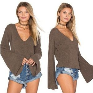 Free People | Brown V Neck Bell Sleeve Top M